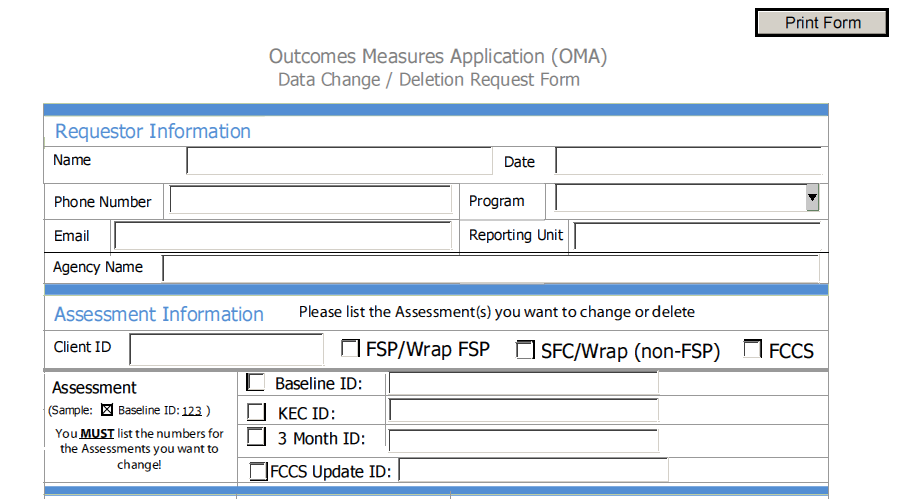 DMHOMA - Outcome Measures / Data Change or Deletion Request